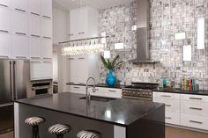 Great tile, interesting light fixture