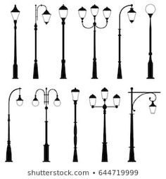 Find Set Street Lamps Vector Illustration stock images in HD and millions of other royalty-free stock photos, illustrations and vectors in the Shutterstock collection. Glasgow, Suspension Vintage, Farmhouse Lamps, Shabby Chic Lamp Shades, Cool Lamps, Street Lamp, Night Lamps, Design Your Home, Silhouette Vector