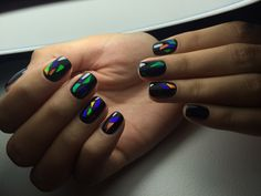 Битое стекло на коротких ногтях, Дизайн ногтей битое стекло, Идеи маникюра битое стекло, Идеи осеннего дизайна ногтей, Маникюр битое стекло, Маникюр на ноябрь, Осенний дизайн на короткие ногти, Осенний дизайн ногтей