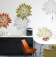 Flower Stencil Chrysanthemum Grande LG - Wall Stencils for easy decor - Better than decals. $39.95, via Etsy.
