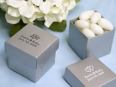 personalized silver favor boxes