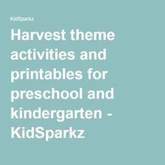 Harvest theme activities and printables for preschool and kindergarten - KidSparkz