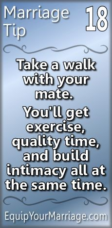 Practical Marriage Tips - Take a walk with your mate. You'll get exercise, quality time, and build intimacy all at once! Marriage Prayer, Godly Marriage, Successful Marriage, Strong Marriage, Save My Marriage, Marriage Relationship, Happy Marriage, Marriage Advice, Love And Marriage