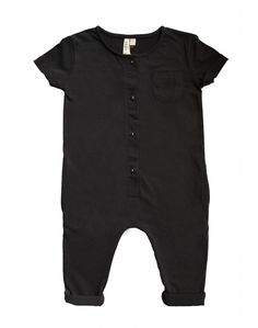 Description This short-sleeved playsuit is made from the softest organic cotton to please your little minimalist. This sweet jumpsuit will keep your baby fuss-free through playtime, naptime, and bedti