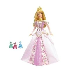 "Sleeping Beauty Doll Magic Fairy Lights Sleeping Beauty doll features her gorgeous signature gown with golden trim. The dress also has surprise light-up and sound features. Girls can play out the iconic scene from Sleeping Beauty and ""change"" the colors of Sleeping Beauty's dress."
