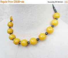 BLACK FRIDAY CYBER Monday Yellow and Grey Beaded Necklace Choker, Single Strand