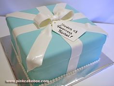 Tiffany Blue Wedding Shower Gift Box Cake