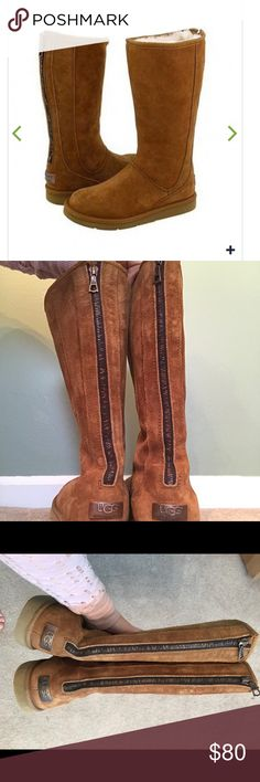 Great Condition! Uggs Knightsbridge Chestnut Uggs Knightsbridge Back Zipper Chestnut Boots  Great Condition  Rubber Soles Cleaned! No scuffs or Marks. Bronze Uggs signs and Zipper on the backs UGG Shoes Winter & Rain Boots