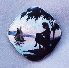 Vintage Norwegian Silver Guilloche Girl Watching Sunset Silhouette Brooch Pin  $199.00