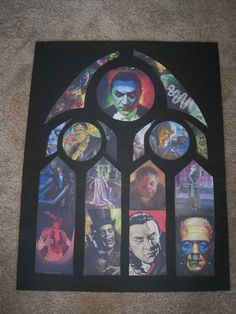 "Make your own ""stained glass"" using cool pictures instead of tissue paper.  This is black poster board sized to your window.  Cut out a gothic design.  Then cut pictures you like to size.  These will be back lit so the colors pop.  Examples of how this was made on Halloween Forum"