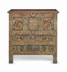 THE EXTRAORDINARY JOINED OAK AND PINE POLYCHROME HADLEY CHEST-WITH-DRAWERS