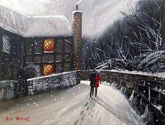 Pete Rumney Art Original Canvas Painting Walking Down Village Lane Winter Snow in Art, Paintings Hand Painting Art, Art Paintings, Snow Art, Winter Snow, Art For Sale, Christmas Time, Buy Art, Walking, Hand Painted