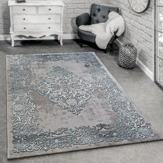 Designer Rug Modern Shabby Chic 3D Style Carpets Traditional Grey Teal Soft  Mats