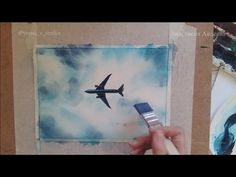 How to Paint a Watercolor Sky and Airplane - Modern Small Canvas Paintings, Small Canvas Art, Easy Canvas Painting, Sky Painting, Sketch Painting, Diy Canvas Art, Cool Paintings, Airplane Painting, Airplane Drawing