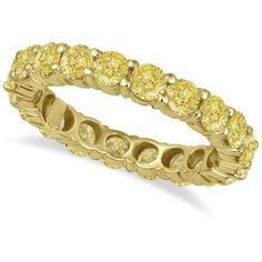 Allurez Fancy Canary Yellow Diamond Eternity Ring Band 18k Yellow Gold... ($5,815) ❤ liked on Polyvore featuring jewelry, rings, stacked wedding rings, gold eternity ring, gold band ring, gold stackable rings and gold rings