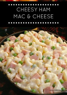 Easy Cheesy Ham and Pea Mac & Cheese. Add in some extra broccoli and peas to make this a veggie packed meal the kids will love!
