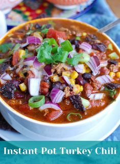 Instant Pot Turkey Chili is a protein packed, healthy chili. This cooks quickly in the pressure cooker and is great for game day or family meals. It also freezes nicely for later. Garnish with your favorite chili toppings! // acedarspoon.com #turkey #chili #dinner #protein #instantpot Instant Pot Pressure Cooker, Pressure Cooker Recipes, Pressure Cooking, Slow Cooker, Instant Cooker, Chili Recipes, Soup Recipes, Cooking Recipes, Recipies