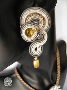Soutache set: earrings & pendant in Grey