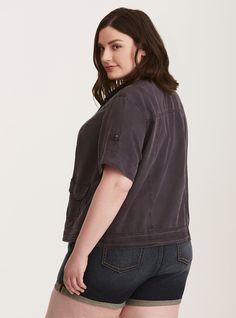 Plus Size Utility Shirt Jacket, NINE IRON