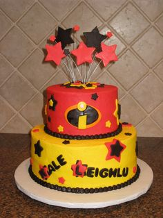 the incredibles birthday party 4th Birthday Cakes, 6th Birthday Parties, Birthday Bash, Birthday Ideas, Piñata Hello Kitty, Incredibles Birthday Party, Party Cakes, First Birthdays, The Incredibles