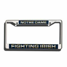NCAA Notre Dame Fighting Irish Laser Chrome Frame by Rico. $16.36. Zinc metal frame resistant to the elements. Chrome license plate frame with laser-cut acrylic insert showing your team. Team name laser-cut into acrylic and hand-assembled. Easy to mount around just about any license plate. Showcase your school spirit when you're on the road with this officially licensed NCAA® team laser chrome license plate frame from Rico. The 6-in x 12-in frame is decorated in the ...