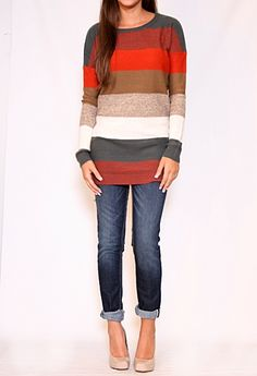 Really like the colors, stripes, and the longer length of the sweater.  A cute outfit that I could still wear to work.