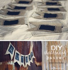 The best DIY projects & DIY ideas and tutorials: sewing, paper craft, DIY. DIY Black Board Ideas 2017 / 2018 DIY Chalkboard Banner Perfect for decorating, Just erase and reuse! Fun Crafts, Diy And Crafts, Arts And Crafts, Cool Diy Projects, Craft Projects, Chalkboard Banner, Burlap Crafts, Party Entertainment, Diy Wedding