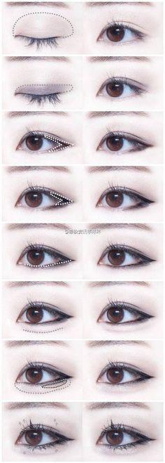 Trendy Makeup Korean Tutorial Eyeliner Make Up 63 Ideas Korean Makeup Look, Korean Makeup Tips, Asian Eye Makeup, Cat Eye Makeup, Dark Skin Makeup, Makeup Eyeshadow, Prom Makeup, Sparkly Eyeshadow, Hair Makeup