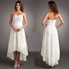 Cheap Short Lace Wedding Dresses 2015 Beach High Low Simple Knee Length Capped Amzing Bridal Ball Gowns Party Homecoming Prom Custom Made