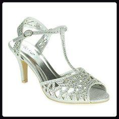 e1339bd31d7077 Frau Damen Diamante T-Bar Peep Toe Fesselriemen Mittel Absatz Abend Party  Hochzeit Prom Silber