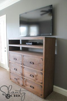 DIY Media Storage Dresser: Tutorial on how to build this giant, gorgeous piece with 6 glorious giant drawers! @shanty2chic breaks it down into sets with instructions anyone can follow! Finished with Varathane Wood Stain, don't forget to top coat it with polyurethane such as Varathane Triple Thick to keep your hard work in great shape for years to come! http://www.rustoleum.com/product-catalog/consumer-brands/varathane/triple-thick-polyurethane/