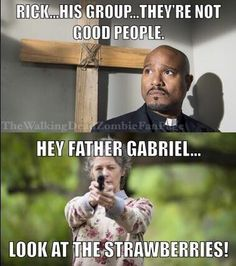 Father Gabriel. had many haters . Many haters had Father Gabriel. I  really hate him and so do you. So let's just Praise the Lord. When he gets ripped. To pieces. By walkers
