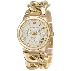 Michael Kors Women's Chronograph Runway Twist Gold Stainless Steel... ($210) ❤ liked on Polyvore featuring jewelry, watches, gold, gold chronograph watches, stainless steel watch bracelet, gold bracelet watch, gold crown and chronograph watches