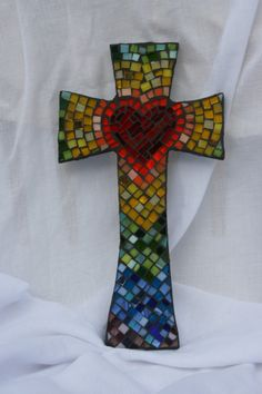 Mosaic Cross with Heart in Center - multicolored, via Etsy.