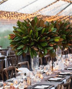 Magnolia leaves centerpiece - 17 Unexpected Ways to Decorate Your Wedding if You're Not Huge on Flowers – Magnolia leaves centerpiece Tall Wedding Centerpieces, Wedding Flower Arrangements, Flower Centerpieces, Floral Arrangements, Wedding Decorations, Centerpiece Ideas, Bar Mitzvah Centerpieces, Table Decorations, Magnolia Centerpiece