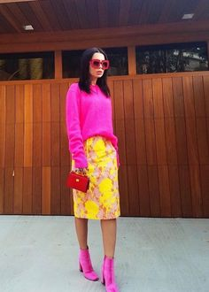 New boots outfit pink sweaters 65 ideas - Office Outfits Pink Heels Outfit, Yellow Sweater Outfit, Yellow Skirt Outfits, Neon Outfits, Colourful Outfits, Fashion Outfits, Fuchsia Outfit, Office Outfits, Yellow Dress