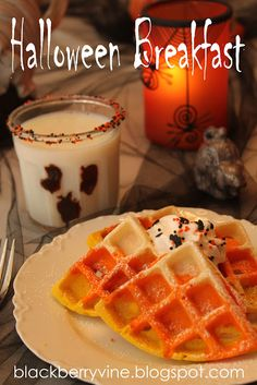 Halloween breakfast Candy Corn looking waffles and Ghost Milk!