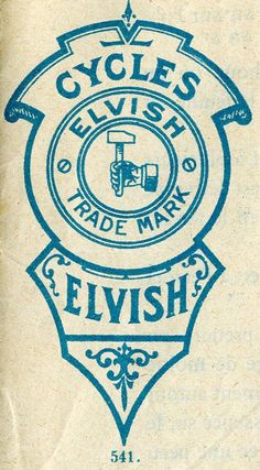 Elvish Cycles- now that's my kinda cycle. Vintage Graphic Design, Graphic Design Typography, Retro Design, Graphic Design Illustration, Branding Design, Vintage Typography, Typography Art, Lettering, Vintage Labels