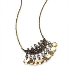Crystal Charm Fashion Necklace Burnished Gold Effect