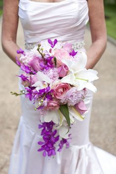 (Below Left) From Style Me Pretty again, we have come across this darling lavender, pink and white bouquet that we think will add such sweetness to your look