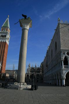 Venice, early morning, no tourists....Winged Lion of St. Mark's Square