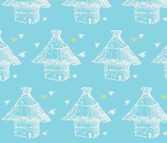 buzzz (aqua, lime & white) fabric by prybolt on Spoonflower - custom fabric