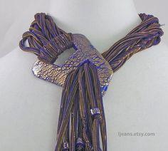 Collana sciarpa blu con fibbia e orecchini di di ljeans su Etsy