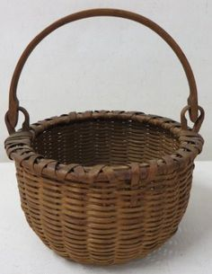 Miniature Taconic swing-handle basket, beautiful old patina, 19th century, pushed in bottom