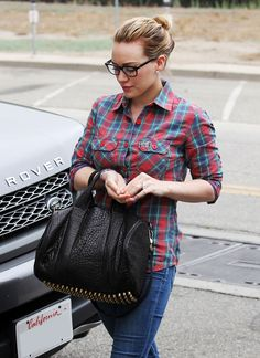 Hillary Duff, retro specs, Alexander Wang bag