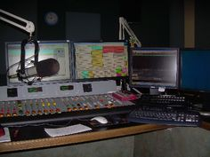 A Virtual Tour of the Equipment Used For AM, FM, Satellite and Internet Radio: Digital Radio Station Studios: Audio Console, Computers, and Microphone