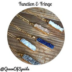 Druzy Bar Gold Necklace Very sparkly druzy bar necklace pendent by Function & Fringe! Comes on a tarnish-resistant gold plated chain. Lobster clasp along with F&F's signature gold feather charm at the clasp. Different colors available, note this listing is for one necklace. Made with love in California! Function & Fringe Jewelry Necklaces
