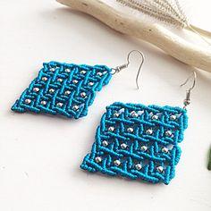 Macrame earrings DIY turquoise beaded earrings blue macrame