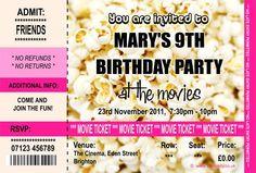 Personalised Cinema Movie Ticket Party Invitations | eBay