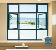 Vintage style green color aluminium profile casement window for villas and apartments.
